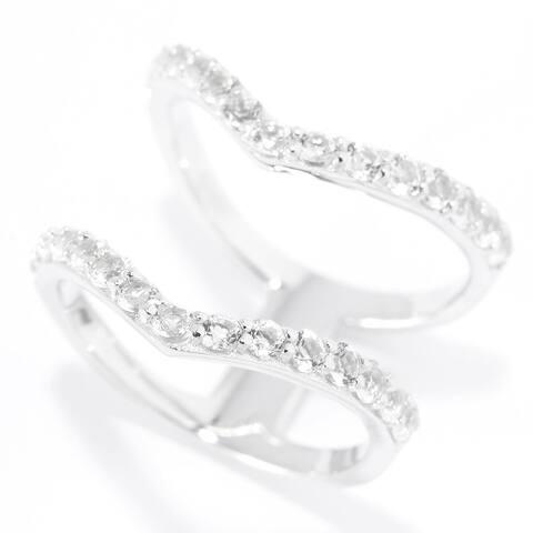 Pinctore Sterling Silver Two-Row Split White Topaz Chevron Ring