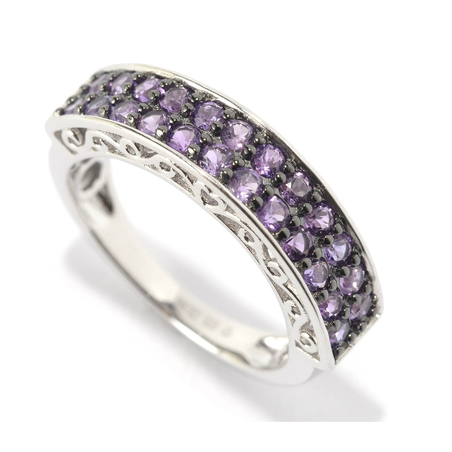 925 Sterling Silver Ring Natural Amethyst Fancy Setting Ring Amethyst Ring African Amethyst Ring Ring for Girls Purple Amethyst Ring