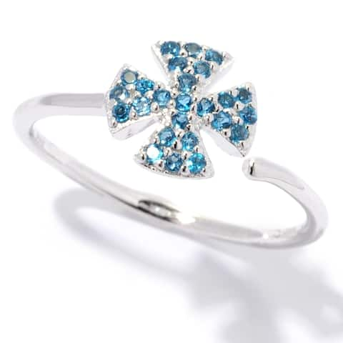Pinctore 925 Sterling Silver London Blue Topaz Ring