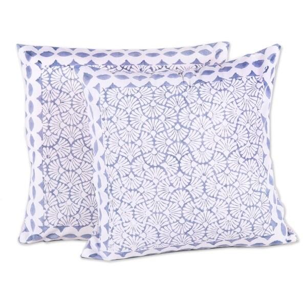 Handmade Block Print Paradise Cotton Cushion Covers, Set of 2 (India)