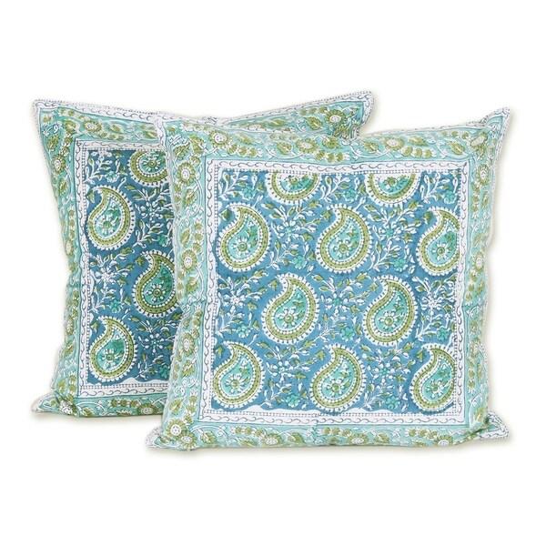 Handmade Mughal Paisleys Cotton Cushion Covers, Set of 2 (India)