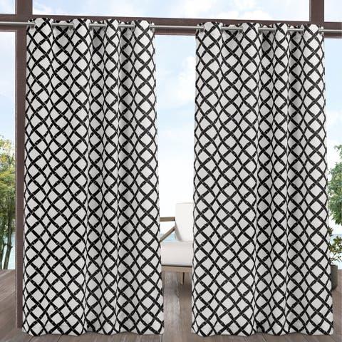 ATI Home Bamboo Trellis Indoor/Outdoor Grommet Top Curtain Panel Pair