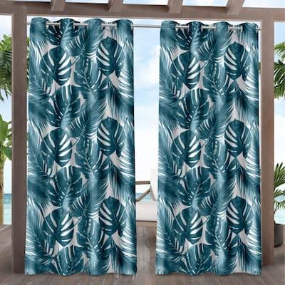 ATI Home Jamaica Palm Indoor/Outdoor Grommet Top Curtain Panel Pair