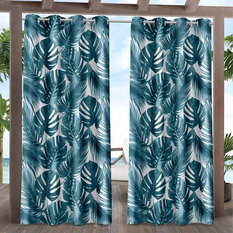 ATI Home Jamaica Palm Indoor/Outdoor Grommet Top Curtain Panel Pair