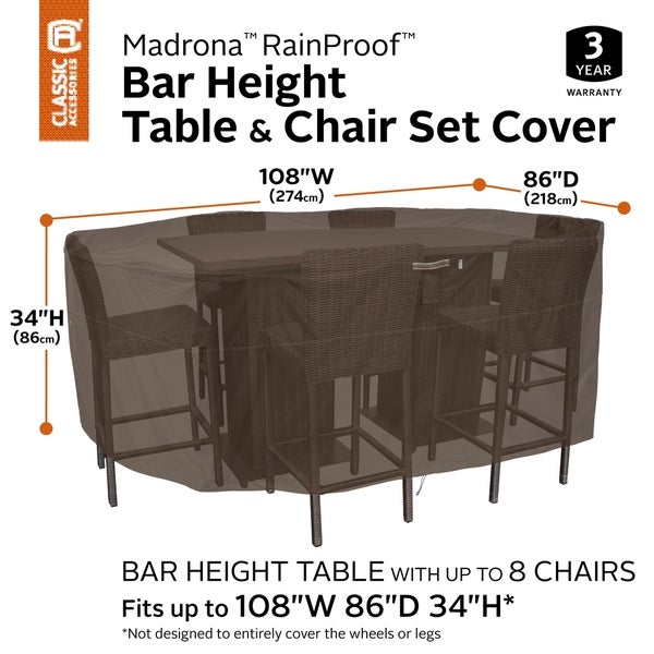 Classic Accessories Madrona Waterproof 108 Inch Rectangular/Oval Patio Bar Table & Chair Cover