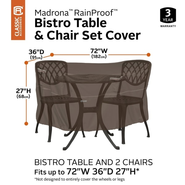 Classic Accessories Madrona Waterproof 72 Inch Patio Bistro Table & Chair Set Cover