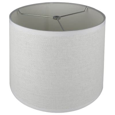 """French Drum Lamp Shade, Woven Paper, 12"""" to 14"""" Bottom Size"""