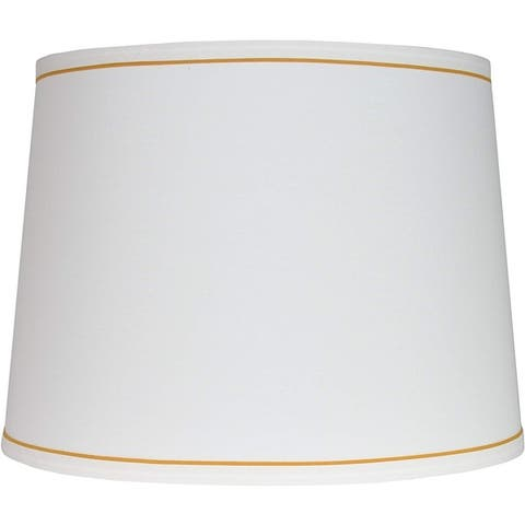 "White with Trim French Drum Lampshade, 14"" to 16"" Bottom Size"
