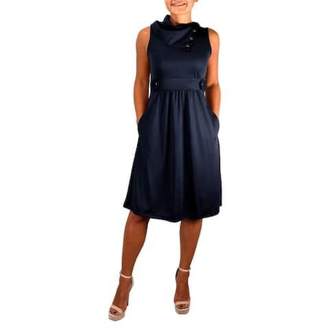 Womens Casual Sleeveless Classic Fold Over Collar A-Line Dress