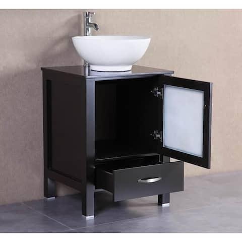 Espresso Oak/Ceramic 22-inch Freestanding Bathroom Vanity Vessel Sink