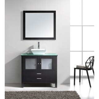 36 inch Modern Espresso Bathroom Vanity w/ Glass Top & Vessel Sink