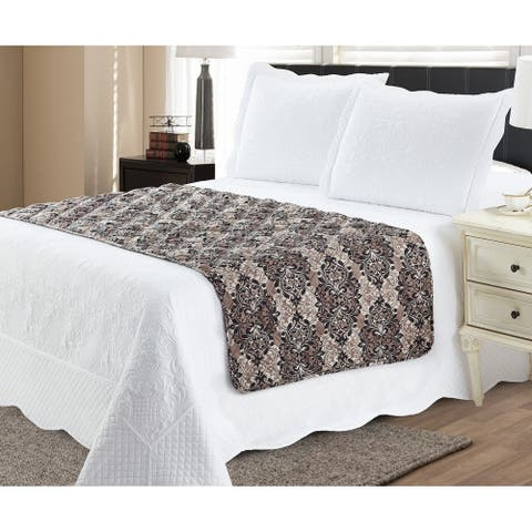 Bed Runner Protector Damask Taupe - Full / Queen