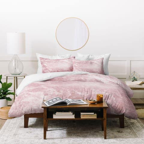 Deny Designs Enigmatic Blush Pink Marble Duvet Cover Set