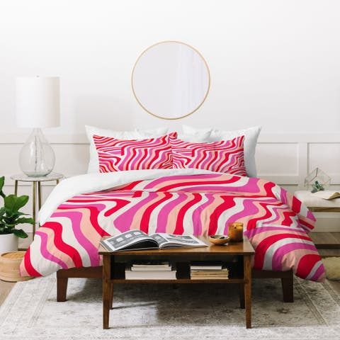 Deny Designs Pink Zebra Stripes Duvet Cover Set