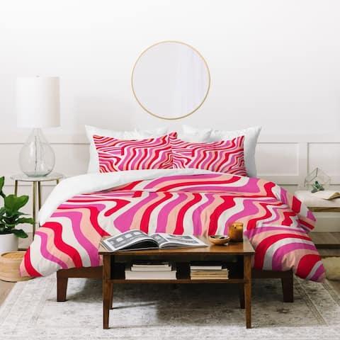 Deny Designs Pink Zebra Stripes Duvet Cover Set