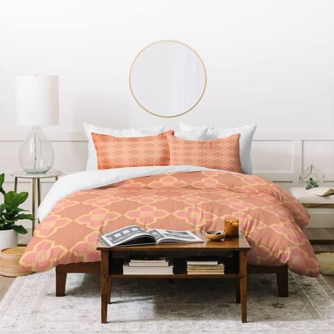 Deny Designs Italy Peach Geometric Tile Duvet Cover Set