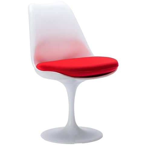 Tulip armless chair, made of plastic seat and Upholstered, Chair swivels 360°, Set of 2