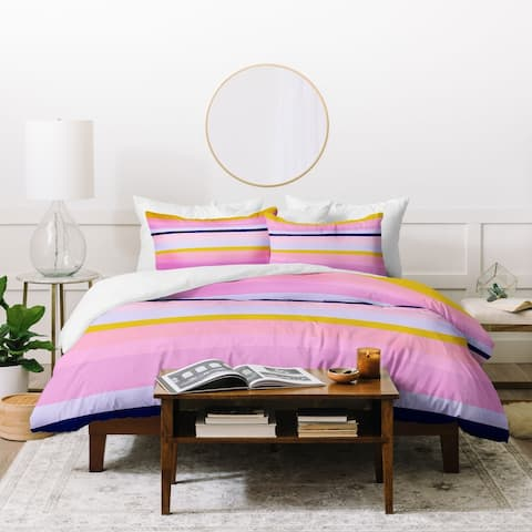 Deny Designs Pink and Yellow Stripes Duvet Cover Set