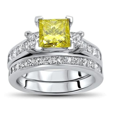 Certified 14k Gold 2 3/4ct TDW Yellow Princess-cut Diamond Bridal Set - White