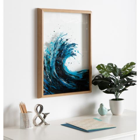 Kate and Laurel Blake Waves Framed Printed Glass