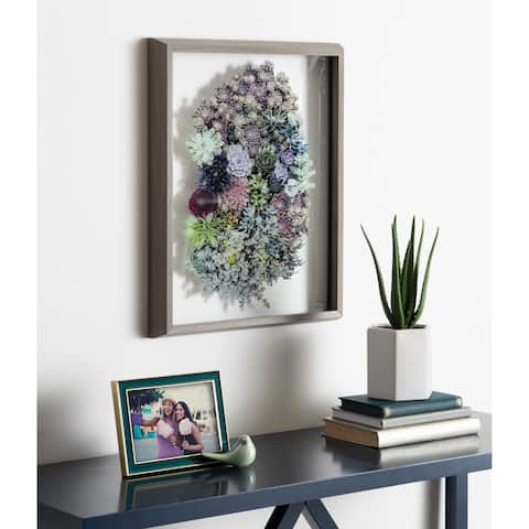 Kate and Laurel Blake Colony Succulent Framed Printed Photograph on Glass by F2 Images, 16x20 Gray, Vibrant Botanical Wall Décor