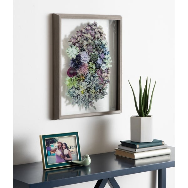 Kate and Laurel Blake Colony Succulent Framed Printed Photograph on Glass by F2 Images, 16x20 Gray, Vibrant Botanical Wall Décor. Opens flyout.