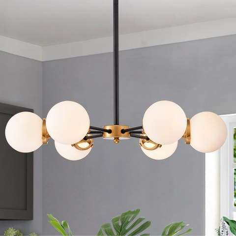 Chevalier 26 Inch Matte Black and Gold with 6 Light Chandelier