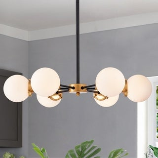 Link to Chevalier 26 Inch Matte Black and Gold with 6 Light Chandelier Similar Items in Chandeliers
