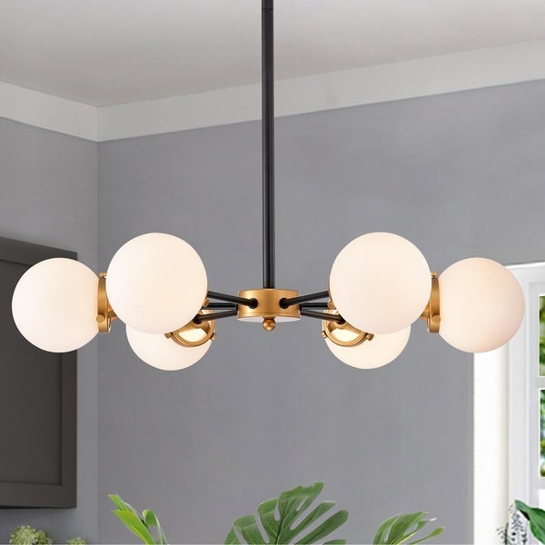 Chevalier 26 Inch Matte Black and Gold with 6 Light Chandelier. Opens flyout.