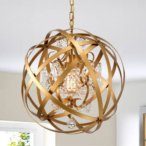 Verite 19 Inch Matte Gold with 1 Light Chandelier with Globe Metal Shade