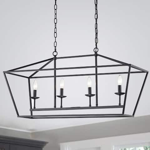 The Gray Barn Katydid 36-inch Matte Black 4-light Chandelier