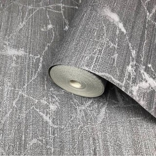 Link to Wallpaper charcoal Gray metallic Textured Plain faux industrial metal Similar Items in Wall Coverings