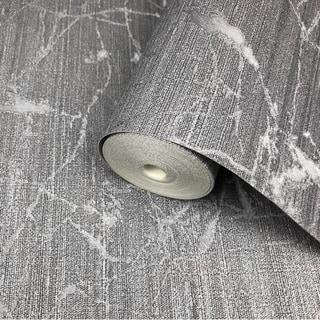 Wallpaper charcoal Gray metallic Textured Plain faux industrial metal