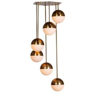 Link to MidCentury Modern 6 Globe Brass Chandelier Similar Items in Chandeliers