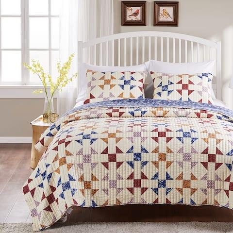 Porch & Den Koll Parkway Geometric Pattern Cotton-Rich Reversible Oversized Quilt Set