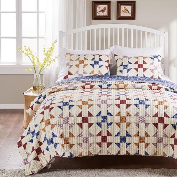 Porch & Den Koll Parkway Geometric Pattern Cotton-Rich Reversible Oversized Quilt Set. Opens flyout.