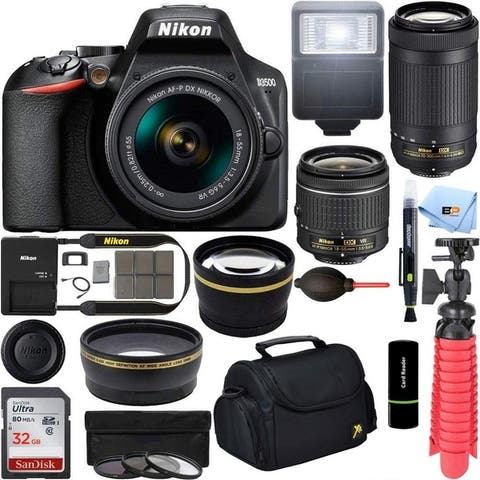 Nikon D3500 DSLR Camera with 18-55 and 70-300mm Lenses and 32GB Bundle