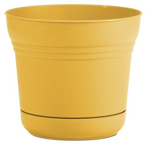 "Bloem Saturn Planter w/ Saucer 10"" Earthy Yellow - 10"