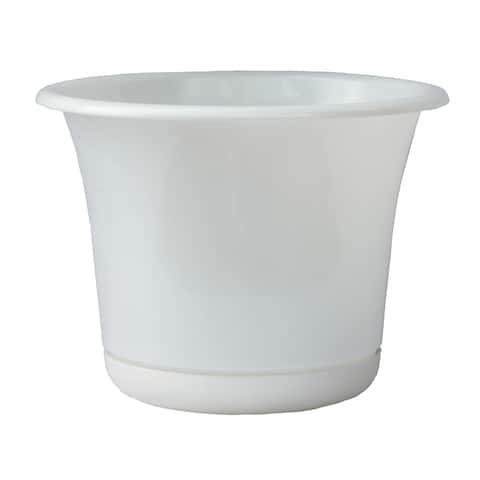 "Bloem Expressions Planter w/ Saucer 8"" Casper White - 8"