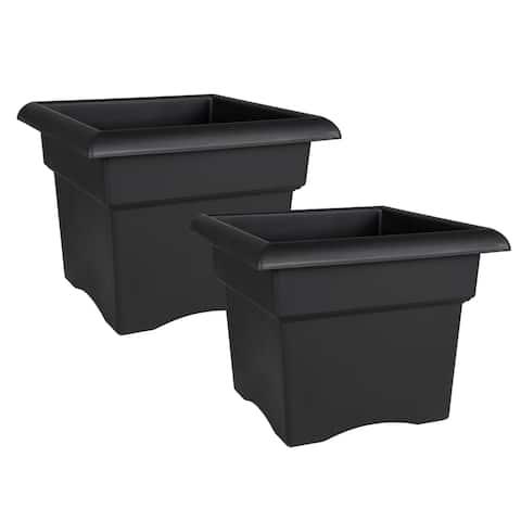 """Bloem Veranda Deck Box Planter Square 14"""" Black (2-Pack) - 14 in. (2-Pack)"""