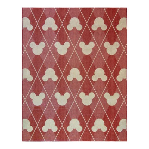 Mickey Mouse Argyle Red Grain