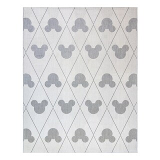 "Disney Mickey Mouse Argyle Cream Gray (5'3""x7') Area Rug by Gertmenian"