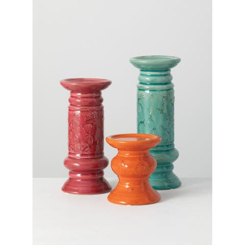 """The Curated Nomad Dilla 3-piece Ceramic Pillar Candle Holders Set - 4.5x4.5""""x11.25""""; 4.5""""x4.5""""x9.5""""; 4.5""""x4.5""""x5.25"""""""