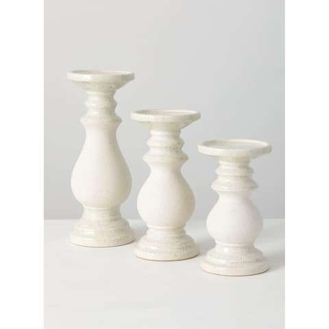 "Pillar Candle Holders - Set of 3 - 4.75x4.75""x12""; 4.75""x4.75""x9.75""; 4.75""x4.75""x8"""