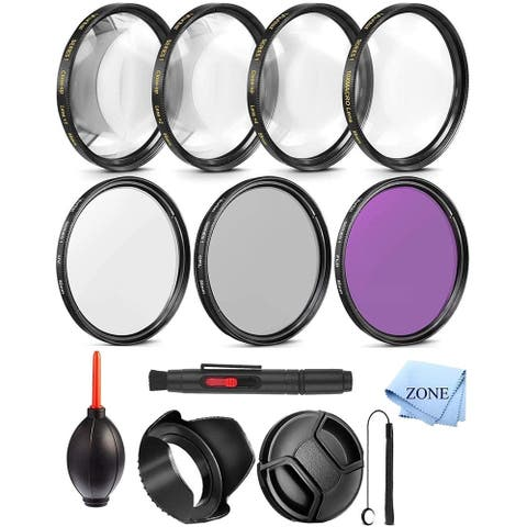 58MM Professional UV CPL FLD Lens Filter and Close-Up Macro Accessory Kit for Lenses with a 58mm Filter Size +...