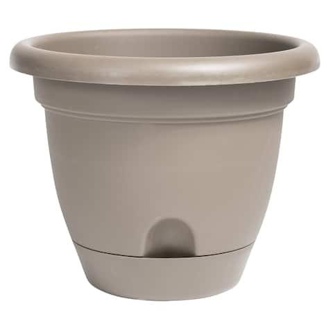 "Bloem Lucca Self Watering Planter w/ Saucer 6"" Pebble Stone - 6"