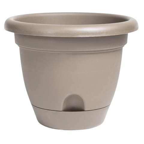 "Bloem Lucca Self Watering Planter w/ Saucer 12"" Pebble Stone - 12"