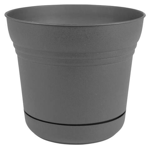 "Bloem Saturn Planter w/ Saucer 10"" Charcoal Gray - 10"