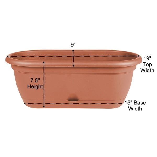 "Bloem Lucca Self Watering Window Box Planter w/ Saucer 18"" Pebble Stone - 18"