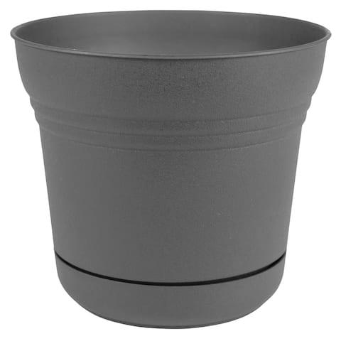 "Bloem Saturn Planter w/ Saucer 5"" Charcoal Gray - 5"